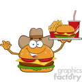 illustration cowboy burger cartoon mascot character holding a platter with burger, french fries and a soda vector illustration isolated on white background