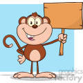 royalty free rf clipart illustration smiling monkey cartoon character holding up a blank wood sign vector illustration with bacground isolated on white