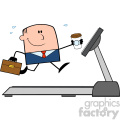 royalty free rf clipart illustration smiling businessman cartoon character running on a treadmill vector illustration isolated on white