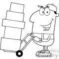 royalty free rf clipart illustration black and white delivery man cartoon character using a dolly to move boxes vector illustration with isolated on white