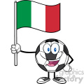 happy soccer ball cartoon mascot character holding a flag of italy vector illustration isolated on white background gif, png, jpg, eps, svg, pdf
