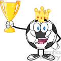 king soccer ball cartoon character with crown holding a golden trophy cup vector illustration isolated on white background