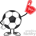 soccer ball faceless cartoon mascot character wearing a foam finger vector illustration isolated on white background gif, png, jpg, eps, svg, pdf