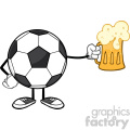 soccer ball cartoon mascot character holding a beer glass vector illustration isolated on white background gif, png, jpg, eps, svg, pdf