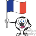 happy soccer ball cartoon mascot character holding a flag of france vector illustration isolated on white background