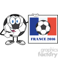 pointing soccer ball cartoon mascot character pointing to a sign with france flag and text france 2016 year vector illustration isolated on white background gif, png, jpg, eps, svg, pdf