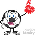 happy soccer ball cartoon mascot character wearing a foam finger vector illustration isolated on white background gif, png, jpg, eps, svg, pdf