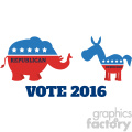 political elephant republican vs donkey democrat vector illustration flat design style isolated on white with text vote 2016 gif, png, jpg, eps, svg, pdf