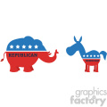 funny political elephant republican vs donkey democrat vector illustration flat design style isolated on white