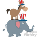 smiling donkey democrat over angry elephant republican vector illustration flat design style isolated on white