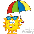 10126 cute sun cartoon mascot character holding a umbrella vector illustration isolated on white background