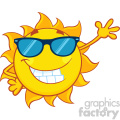 smiling sun cartoon mascot character with sunglasses waving for greeting vector illustration isolated on white background