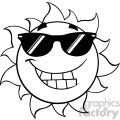 black and white smiling summer sun cartoon mascot character with sunglasses vector illustration isolated on white background