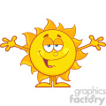 smiling loving sun cartoon mascot character with open arms for hugging vector illustration isolated on white background