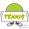 tennis ball faceless cartoon mascot character holding a blank sign vector illustration with text tennis isolated on white background gif, png, jpg, eps, svg, pdf