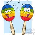 two colorful mexican maracas cartoon mascot characters singing vector illustration isolated on white background with notes