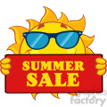 cute sun cartoon mascot character with sunglasses holding a sign with text summer sale vector illustration isolated on white background