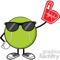 tennis ball faceless cartoon mascot character with sunglasses wearing a foam finger vector illustration isolated on white background