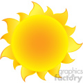 yellow simple sun with gradient vector illustration isolated on white background