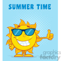 smiling sun cartoon mascot character with sunglasses giving the thumbs up vector illustration with halfone background and text summer time