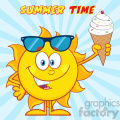 cute sun cartoon mascot character with sunglasses holding a ice cream vector illustration with sunburst background and text summer time