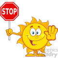 10129 cute sun cartoon mascot character gesturing and holding a stop sign vector illustration isolated on white background
