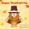 8994 happy thanksgiving greeting with cute pilgrim turkey bird cartoon character waving vector illustration
