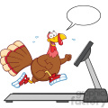 smiling turkey cartoon character running on a treadmill with speech bubble vector illustration isolated on white