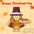 happy thanksgiving greeting with cute pilgrim turkey bird cartoon character waving vector illustration