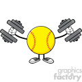 softball faceless cartoon mascot character working out with dumbbells vector illustration isolated on white background