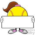 10341 softball girl faceless cartoon mascot character holding a blank sign vector illustration isolated on white background gif, png, jpg, eps, svg, pdf