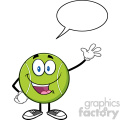 cute tennis ball cartoon character waving with speech bubble vector illustration isolated on white