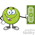 tennis ball cartoon mascot character holding a dollar bill vector illustration isolated on white  gif, png, jpg, eps, svg, pdf