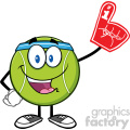 happy tennis ball cartoon mascot character wearing a foam finger vector illustration isolated on white gif, png, jpg, eps, svg, pdf