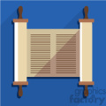 jewish torah scroll flat vector art icon with shadow