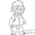 construction worker dog character vector book illustration
