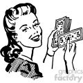 vintage women holding money vector vintage 1900 vector art GF