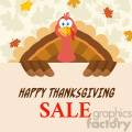 happy thanksgiving turkey bird cartoon mascot character holding a happy thanksgiving sale sign vector flat design over background with autumn leaves gif, png, jpg, eps, svg, pdf