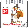 Cartoon Calendar Page Turkey With Pilgrim Hat and Musket Vector