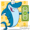 Clipart Happy Blue Shark Cartoon Holding A Dollar Bill Vector With Yellow Background With Dollar Symbols