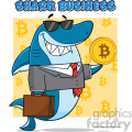 smiling business shark cartoon in suit carrying a briefcase and holding a goden bitcoin vector illustration with yellow background with bitcoin symbols and text shark business gif, png, jpg, eps, svg, pdf