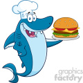 clipart chef blue shark cartoon holding a big burger vector  gif, png, jpg, eps, svg, pdf
