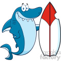 Clipart Smiling Blue Shark Cartoon With Surfboard Vector Vector