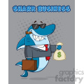 smiling business shark cartoon in suit carrying a briefcase and holding a money bag vector illustration with gray halftone background and text shark business gif, png, jpg, eps, svg, pdf