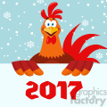 happy red rooster bird cartoon holding a sign vector flat design over snow background with 2017 numbers gif, png, jpg, eps, svg, pdf