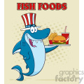 american blue shark cartoon with patriotic hat holding a platter with burger french fries and a soda vector illustration with halftone background and text fish foods gif, png, jpg, eps, svg, pdf