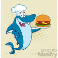 clipart chef blue shark cartoon holding a big burger vector with halftone background  gif, png, jpg, eps, svg, pdf