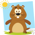 cute marmot cartoon character vector flat design with background  gif, png, jpg, eps, svg, pdf