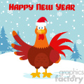 Cute Red Rooster Bird Cartoon Waving Vector Flat Design With Snow Background And Text Happy New Year