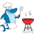 chef blue shark cartoon licking his lips and holding a spatula by a barbeque with roasted burgers vector gif, png, jpg, eps, svg, pdf